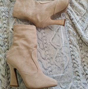 Charolette Russe Cream Squared Toed Ankle Booties